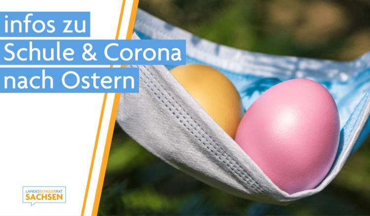 Das Bild zeigt Ostereier in einer OP-Maske. Es steht: Infos zu Schule und Corona nach Ostern.